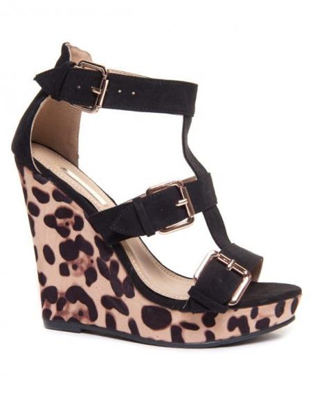 Sandales Bellucci noire/camel au compensées imprimé leopard