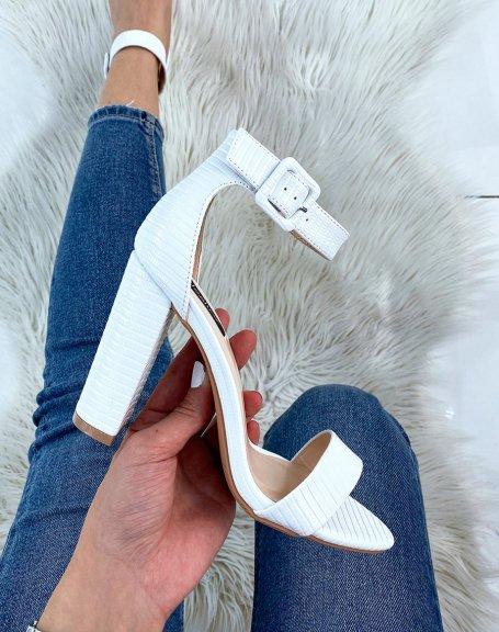 Sandales blanches à bride épaisse à motifs effet croco
