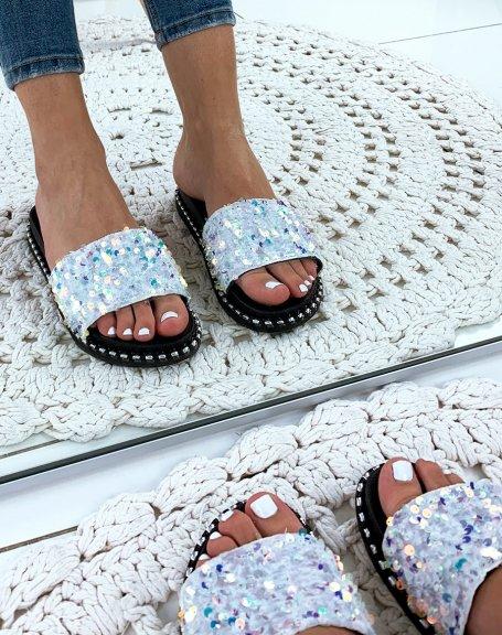 Sandales blanches plates à sequins