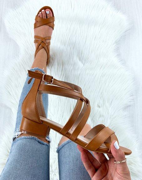 Sandales camel à multiples brides croisées