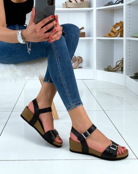 Sandales compensées à doubles brides noires