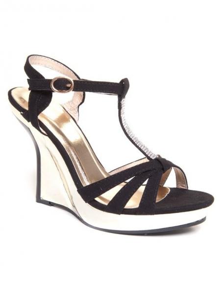 Sandales compensées Beauty Girl's noires à talon or