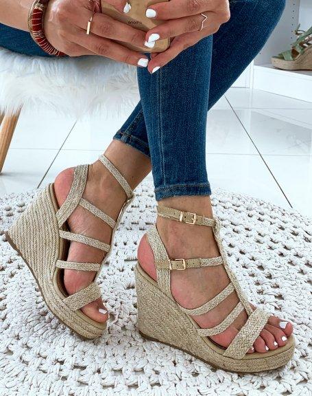 Sandales compensées beige raphia