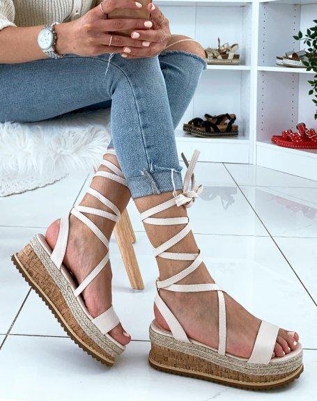 Sandales compensées beiges à lacets