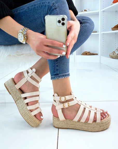 Sandales compensées beiges à multiples lanières