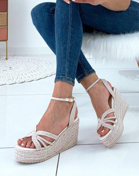 Sandales compensées beiges à plateformes épaisses