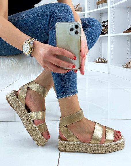Sandales compensées dorés à brides élastiques