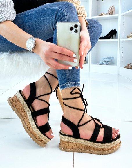 Sandales compensées en suédine noire