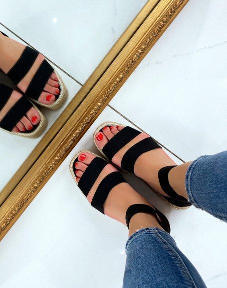Sandales compensées noires à brides élastiques