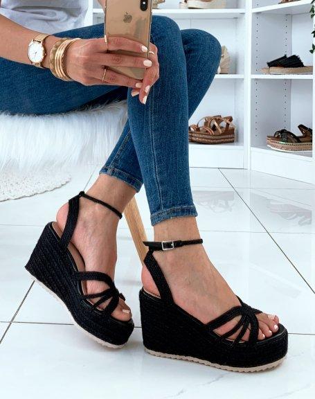 Sandales compensées noires à plateformes épaisses