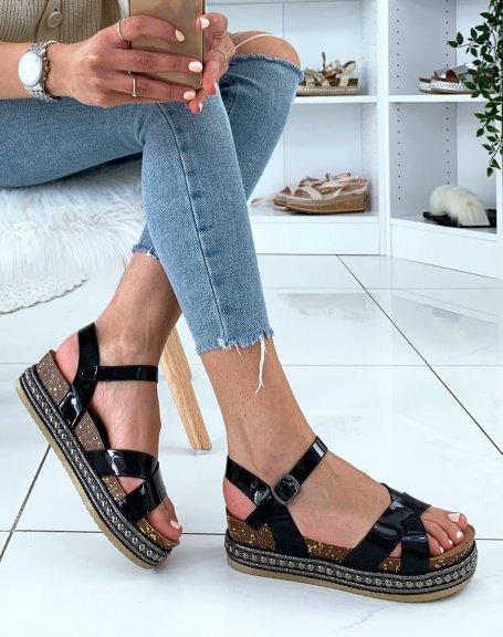 Sandales compensées noires effet métallique