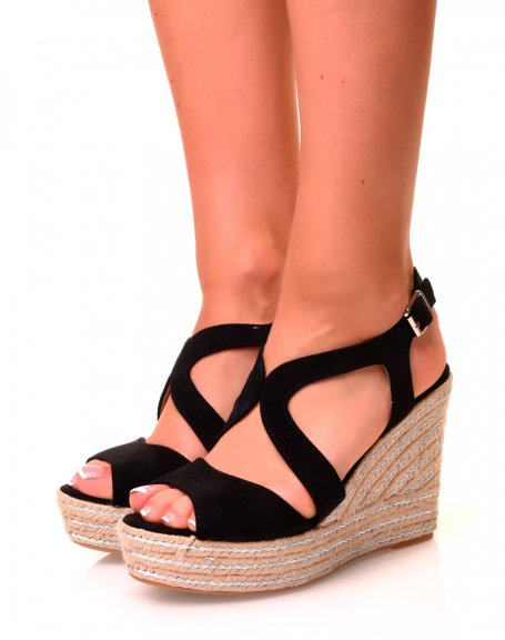 Sandales compensées noires en suédine à détails argentés