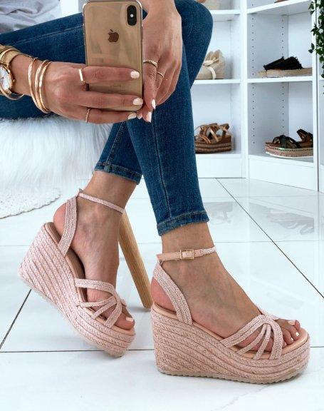 Sandales compensées roses à plateformes épaisses