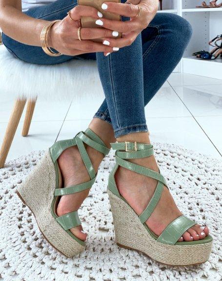 Sandales compensées vertes croco
