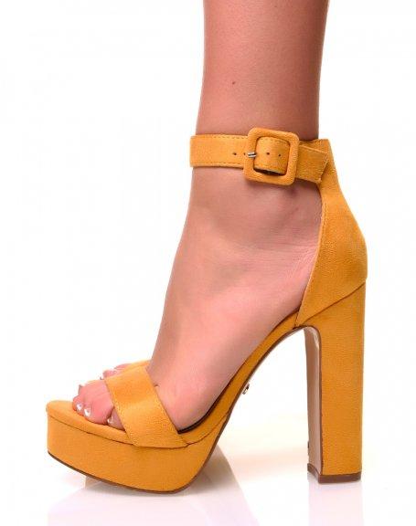Sandales en suédine à plateforme jaunes