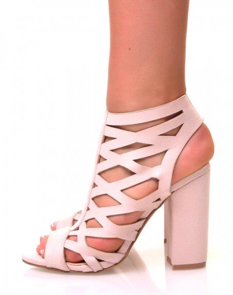 Sandales en suédine beiges à talons carrés