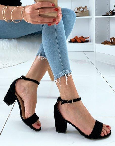 Sandales en suédine noires à talons carrés et à bride tressée