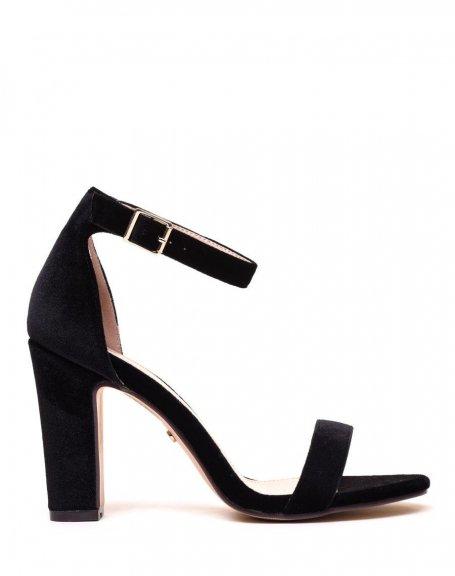 sandales en velours noires talons. Black Bedroom Furniture Sets. Home Design Ideas