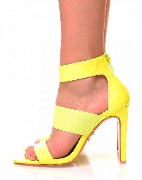 Sandales jaunes fluo à talons plats carrés