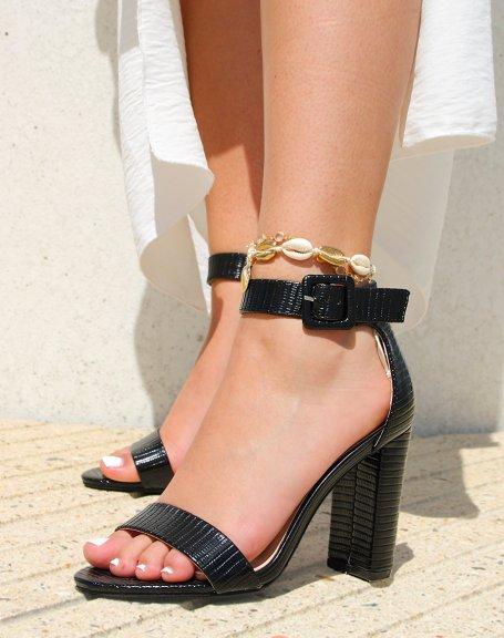 Sandales noires à bride épaisse à motifs effet croco