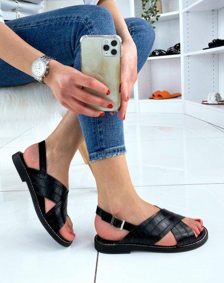 Sandales noires à brides entrecroisées effet croco
