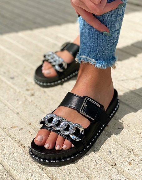 Sandales noires à doubles brides et chaîne argentée