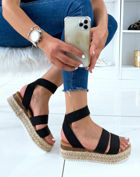 Sandales noires à multiples brides et semelle en jute