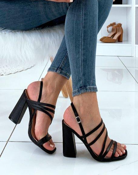 Sandales noires à multiples lanières et à talons carrés
