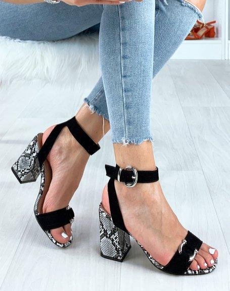 Sandales noires à talon boc effet serpent