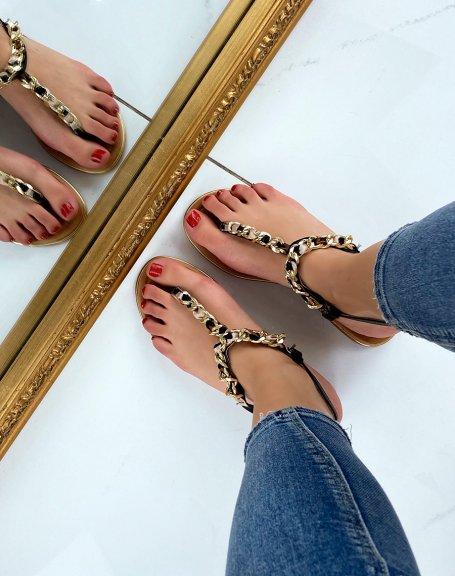 Sandales noires à tissus léopard et chaine dorée