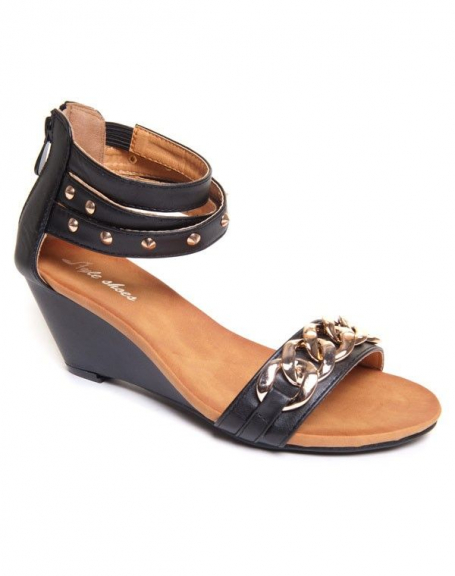 Sandales noires compensées Style Shoes