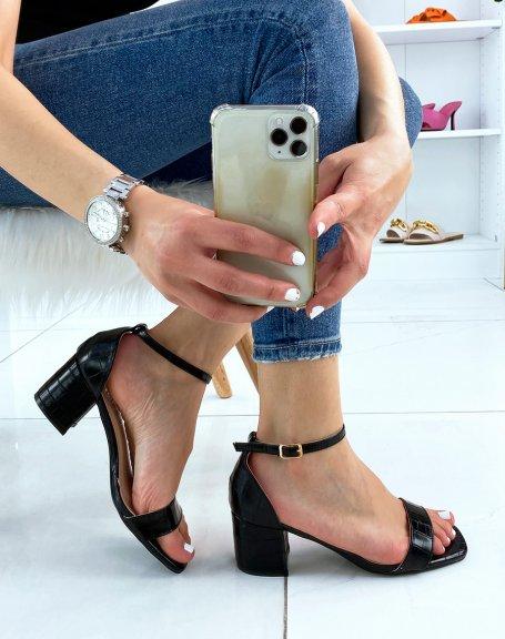 Sandales noires effet croco à petit talon