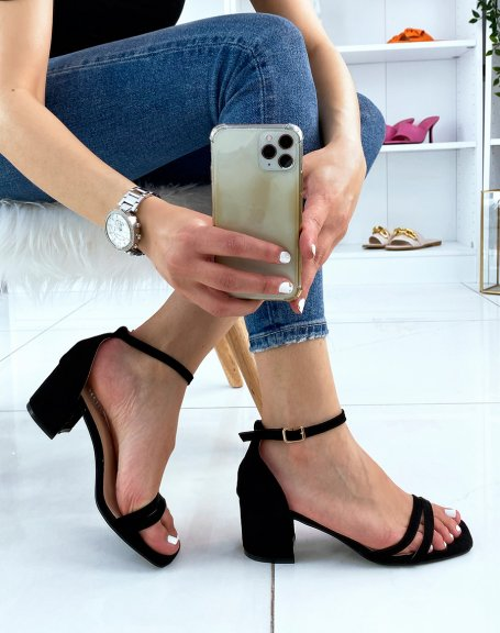 Sandales noires en suédine à double bride