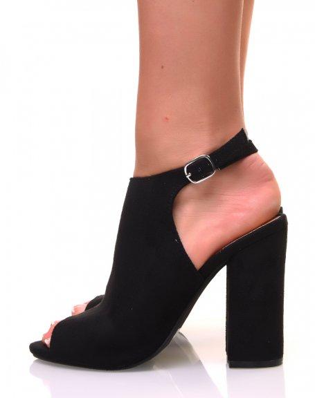Sandales noires en suédine bout ouvert