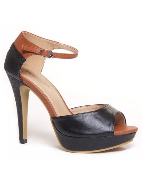 Sandales noires et camel à talons avec détails crocodiles