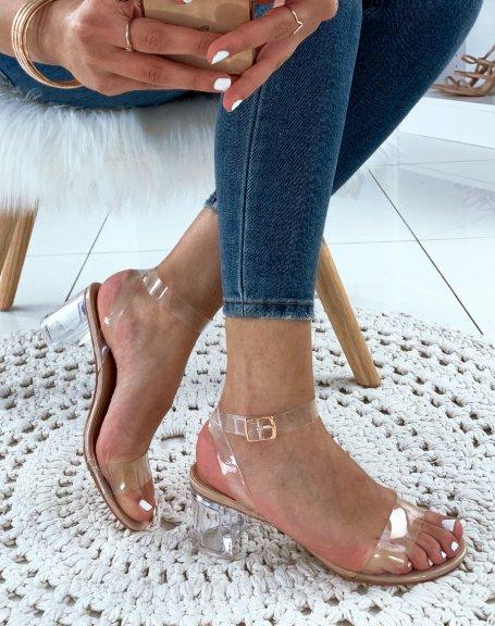 Sandales nude à talons blocs et brides transparentes