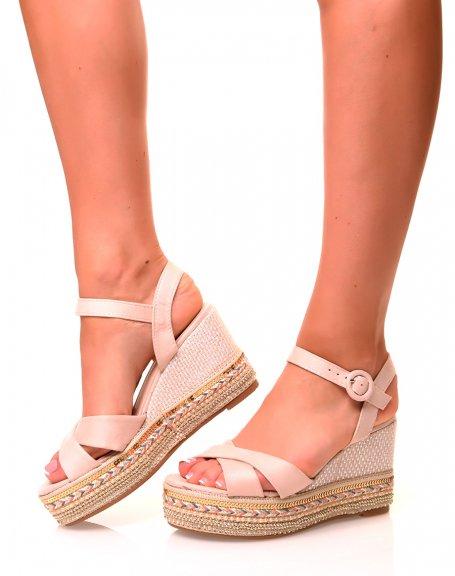 Sandales Nude compensées en suédine et à plateforme fantaisie