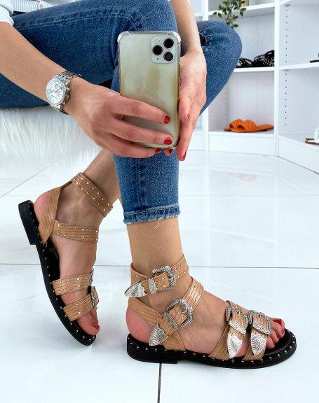 Sandales nude foncé à multiples brides ajustables cloutées
