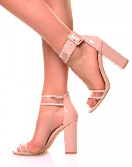 Sandales nudes vernies et transparente à talons carrés