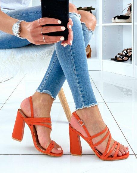 Sandales orange à brides fines et talon carré