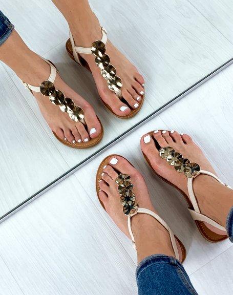 Sandales plates beige à bijoux rond dorés