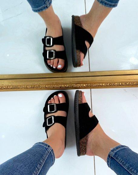 Sandales plates en suédine noires à double lanières épaisses
