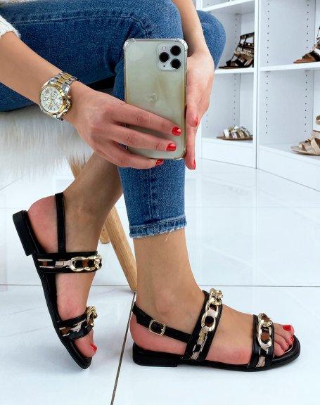 Sandales plates noires à détails dorées et léopard