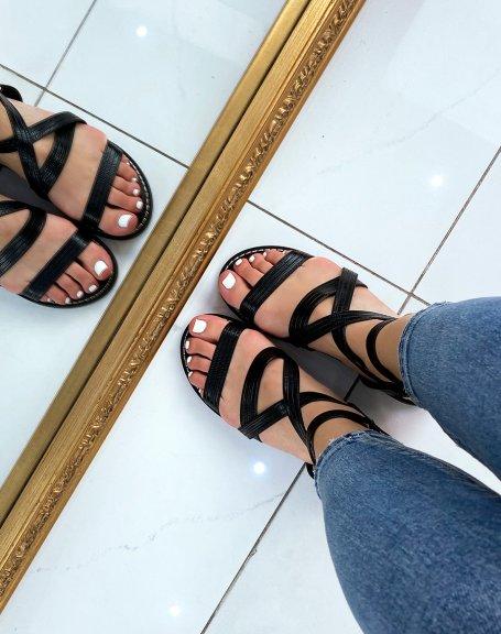 Sandales plates noires à multiples brides