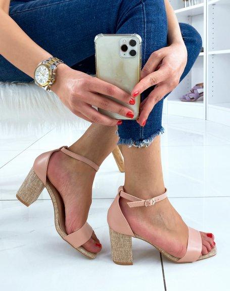 Sandales rose à talon en tissu