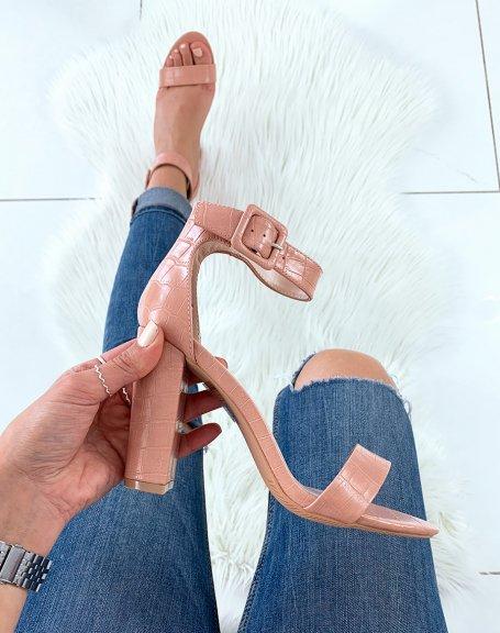 Sandales roses effet croco à talons carrés