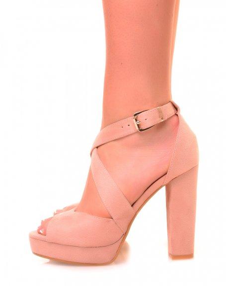 Sandales roses en suédine à talon et à plateforme épaisse