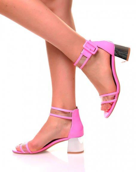 Sandales roses fluo à petits talons carrés effet vernis et transparent