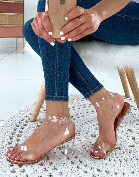 Sandales sirène à talons blocs et brides transparentes