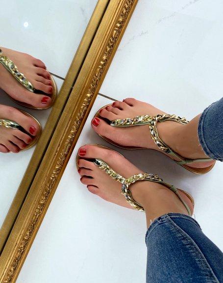 Sandales vert pastel à tissus coloré et chaine dorée